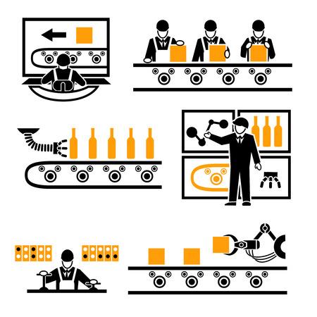 mecanica industrial: Iconos del proceso de producción de la fábrica fijados. Vectores