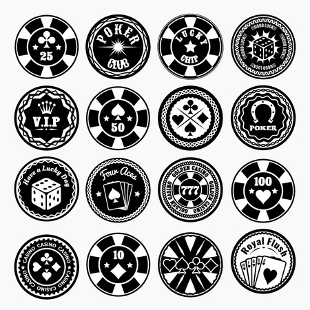 chips: Poker club and casino black labels set.