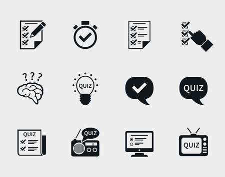 Quiz icon set.