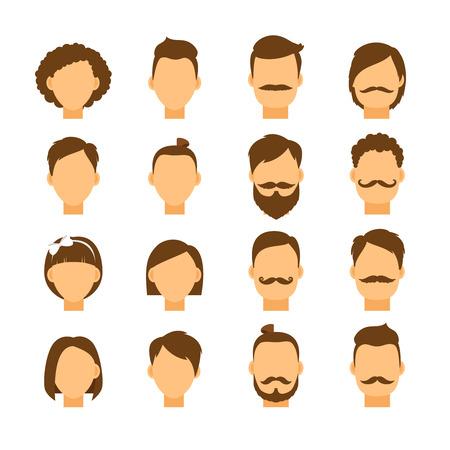 coiffer: Femmes coiffure et hippie hommes de style de cheveux. Portrait fille et tête de garçon, gens de la mode, illustration vectorielle