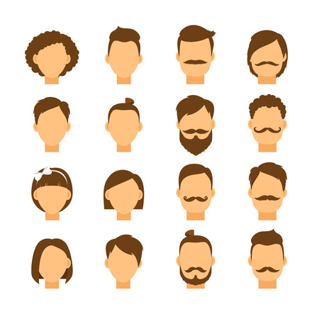 male female: Women hairstyle and men hair style hipster. Portrait girl and boy head, fashion people, vector illustration