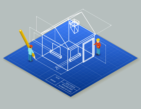 architectural styles: Architectural design blueprint drawing 3d isometric illustration.