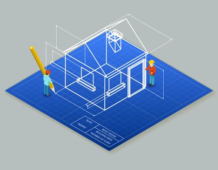 blueprint: Architectural design blueprint drawing 3d isometric illustration.