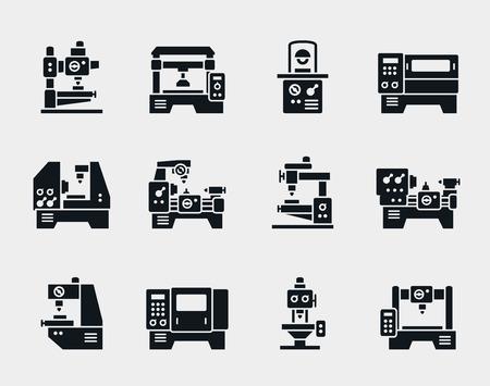 herramientas de mecánica: Iconos vectoriales de máquinas herramienta establecen.