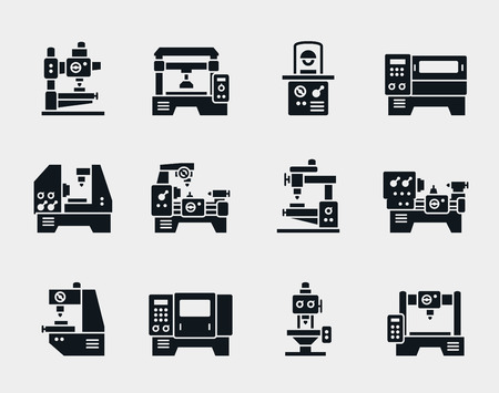 Vector machinegereedschappen iconen set. Stock Illustratie