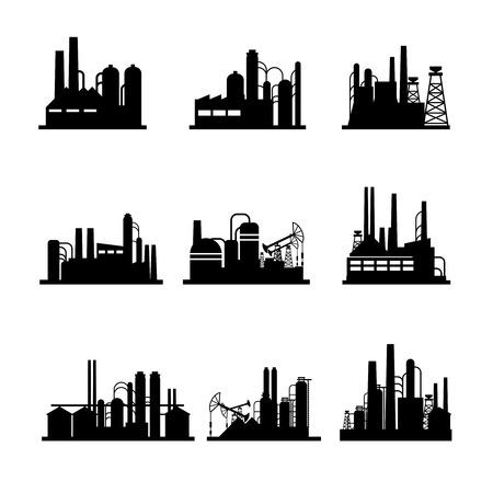 refinería de petróleo: Refinerías de petróleo y plantas de procesamiento de petróleo iconos. Vectores
