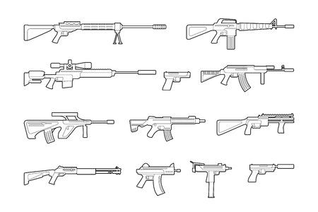 gunfire: Vector machine guns and pistols line icons set.