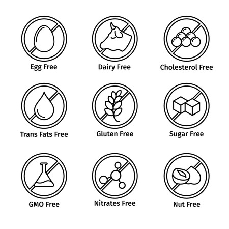 allergen: Food diet and GMO free icons set in line design style.