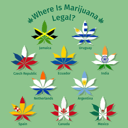 Marijuana leaves with the international flags.  Illustration