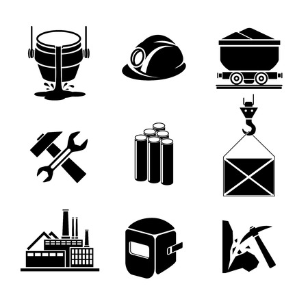 mining equipment: Heavy industry or metallurgy icons set. Illustration