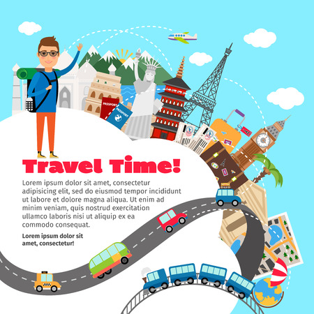 世界旅行や夏の休暇を計画します。  イラスト・ベクター素材