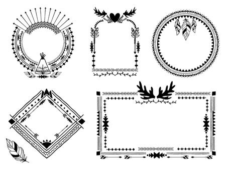 indische muster: Hand gezeichnet Stammes-Frames. Illustration