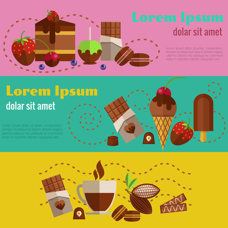 dessert: Chocolate and coffee, desserts and cakes retro vintage banners.  Illustration