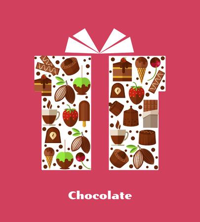 甘い食べ物: お菓子やチョコレートなどの甘い食品を持つギフト カード テンプレート。