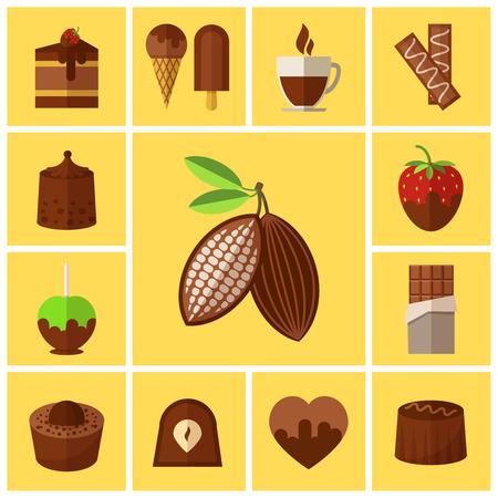helado de chocolate: Dulces de chocolate, pasteles y iconos planos de granos de cacao.