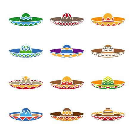 traje mexicano: Iconos planos de color sombrero mexicano establecen.