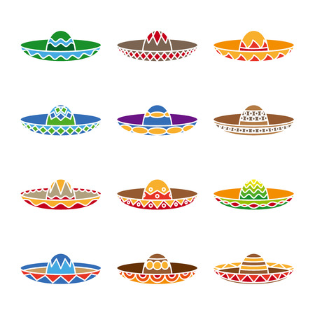 Mexican sombrero color flat icons set.