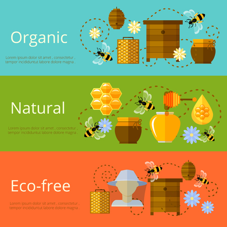 bee honey: Honey, beekeeping and natural eco sugar banners