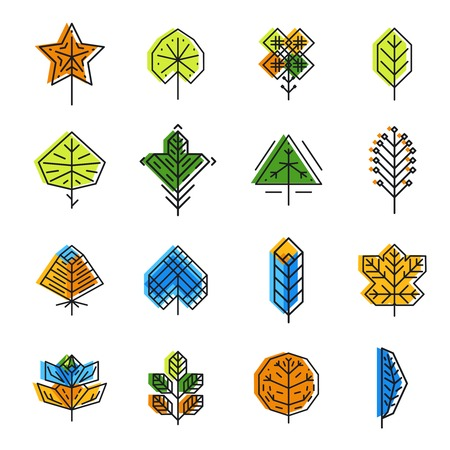 nature  plant: Leaf icon set in line style. Nature plant, collection design eco element, vector illustration