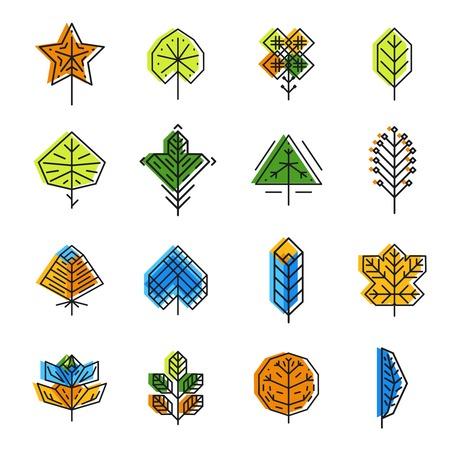 leaf line: Leaf icon set in line style. Nature plant, collection design eco element, vector illustration