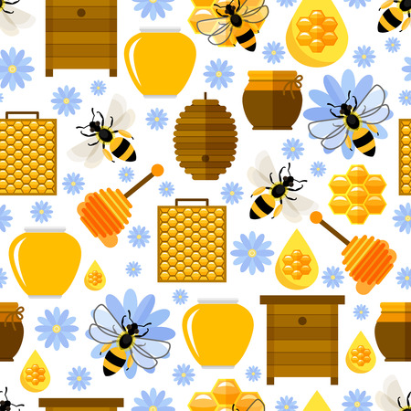 bee hive: Flowers, bees and honey seamless background.