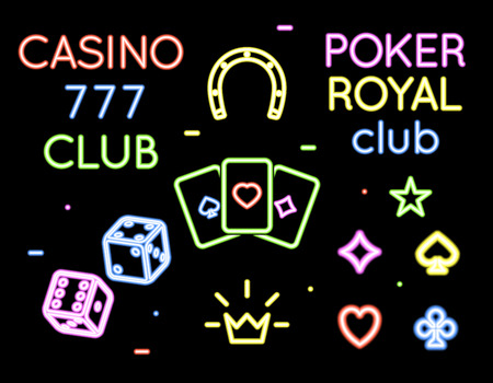 Set of vector neon light logos of poker club and casino. Gambling and card, game and play illustration