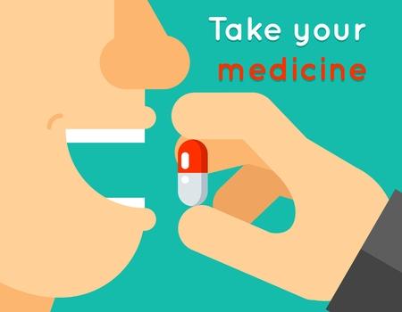 la boca: Lleve a su concepto de la medicina.