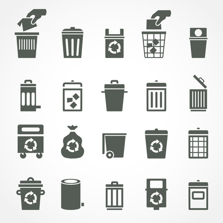 Trash can and recycle bin icons.