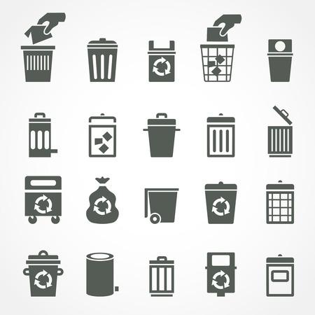 Vuilnisbak en prullenbak pictogrammen. Stock Illustratie