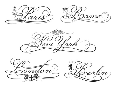 City emblems with calligraphic elements.