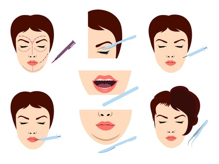 face surgery: Facial cosmetic surgery vector icons.