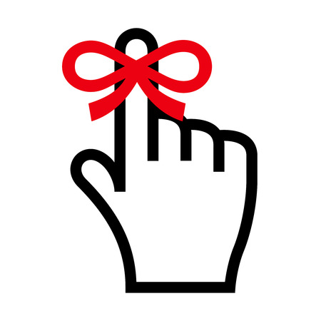 scheduler: Reminder icon. Hand with finger on which is tied ribbon bow