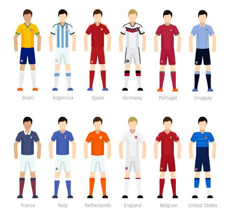 Soccer team of spelers van het voetbalteam op een witte achtergrond Vector Illustratie
