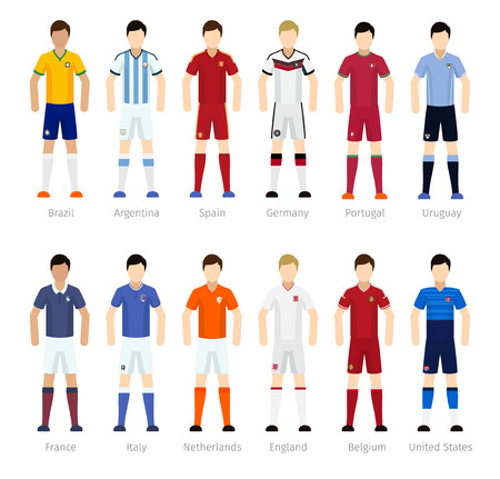 team: Soccer team or Football team players on white background Illustration