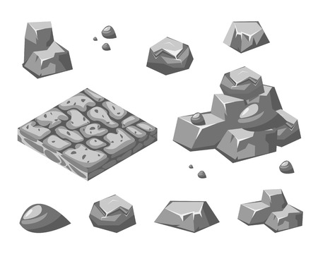 broken wall: Piedras y rocas en estilo plano isom�trico 3d
