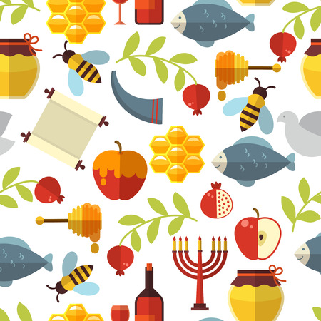 shofar: Jewish New Year Rosh Hashanah seamless pattern with honey, fish and wine