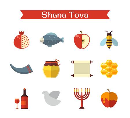 tova: Rosh Hashanah, Shana Tova flat vector icons set