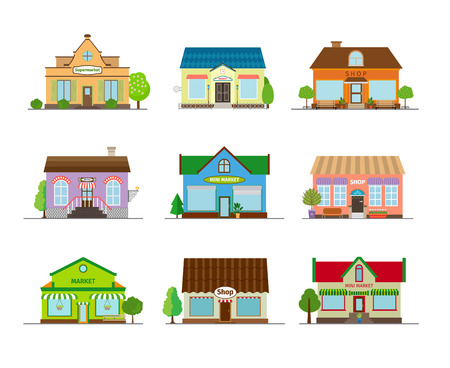 shops street: Stores and shops buildings. Business street retail, architecture market and showcase. Vector illustration