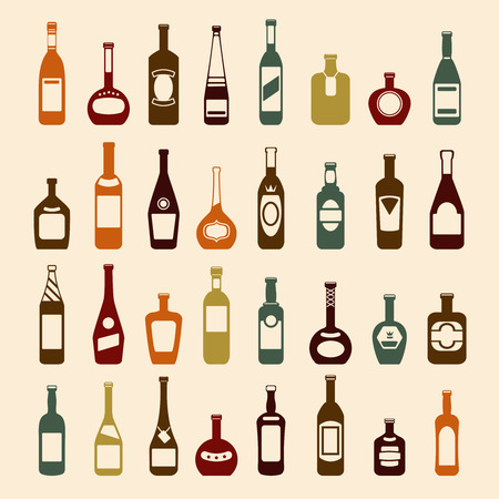 botella de whisky: Beer bottles and wine bottles icon set. Brandy beverage vodka, champagne and whiskey, liquid martini, vector illustration Vectores