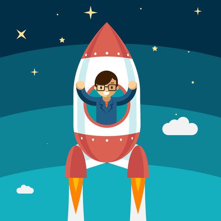 COHETES: El hombre de negocios cada vez más éxito. Cohete vuela hacia arriba, ganador persona, ilustración vectorial Vectores