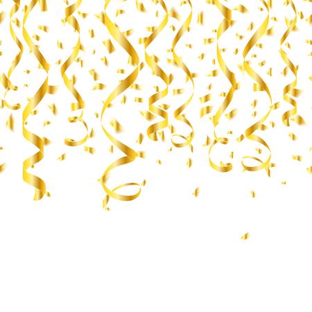 Partij gouden confetti streamers. Klatergoud spiraal en verdraaid hangen lint. Vector illustratie
