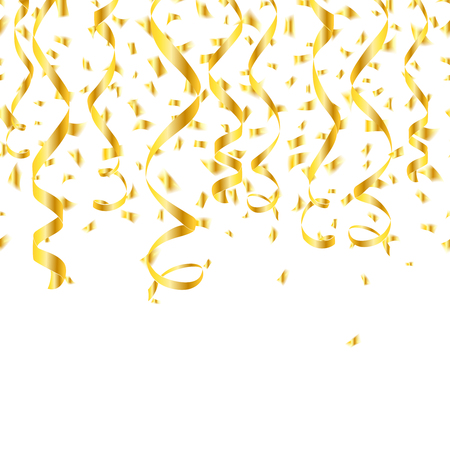 holiday party background: Party golden confetti streamers. Tinsel spiral and twisted hanging ribbon. Vector illustration