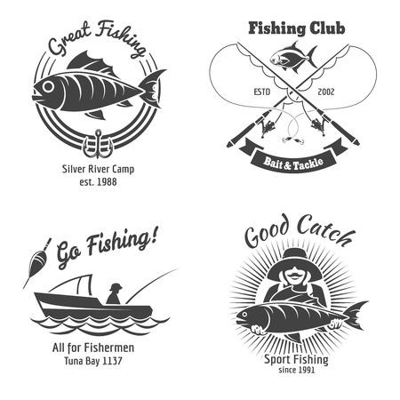 Pêche logo et l'emblème ensemble de vecteurs vintage. Cachet et poissons, signe et autocollant, nourriture animale, illustration vectorielle Logo