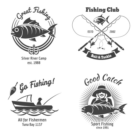 Fishing logo and emblems vintage vector set. Stamp and fish, sign and sticker, food animal, vector illustration