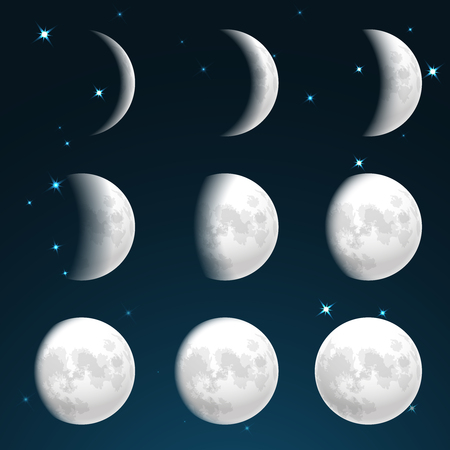phase: Moon phases in starry sky vector illustration Illustration