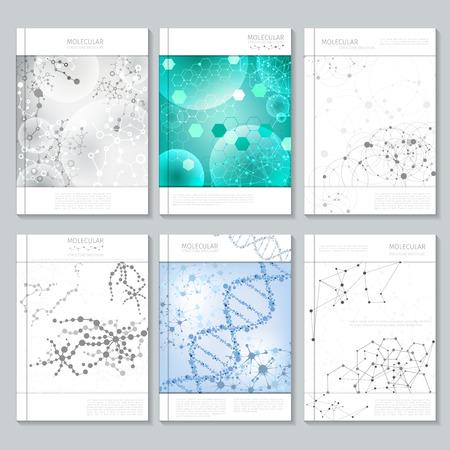 비즈니스를위한 분자 구조 브로셔 또는 보고서 템플릿. 포스터 또는 브로셔, 프리젠 테이션 및 간행물, 페이지 보고서, 벡터 일러스트 레이 션