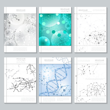 Molecular structure brochure or report templates for business. Poster or booklet, presentation and publication, page report, vector illustration