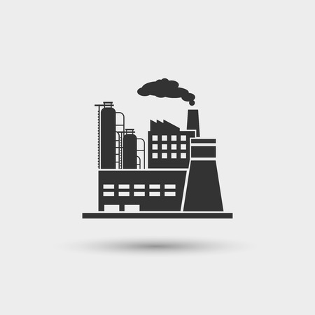 Industrial plant icon. Factory industry power, energy manufacturing station, vector illustration Çizim