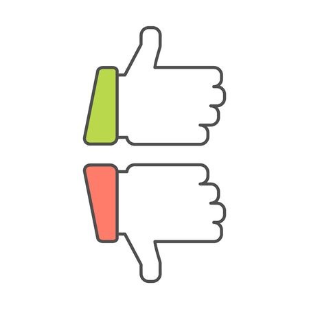 thumbsup: Thumb up and thumb down vector line icons