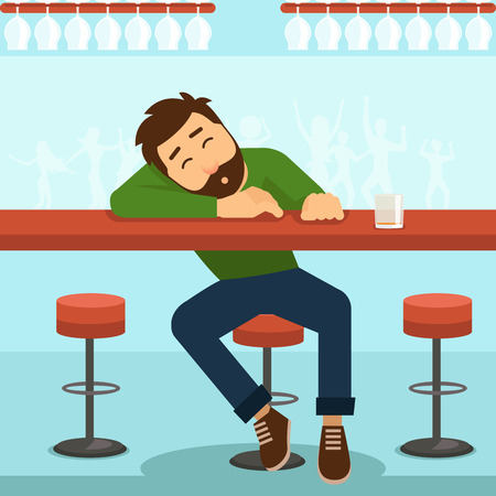 Drunk man. Alcohol and glass, person and table, alcoholism and whiskey, vector illustration Illustration
